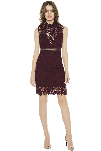 PARIS LACE DRESS. in colour BURGUNDY