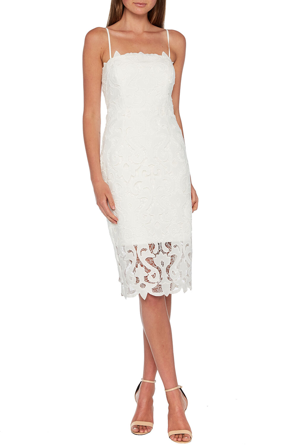 LINA LACE DRESS in colour CLOUD DANCER