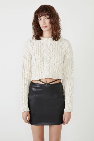 CHLOE CROP KNIT in colour VANILLA ICE