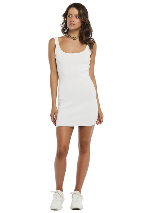 MANHATTAN KNIT DRESS in colour CLOUD DANCER