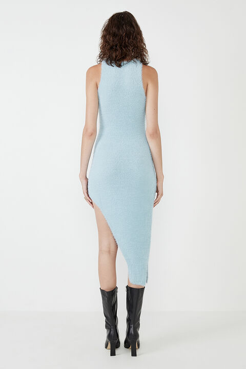 THE FLUFFY KNIT DRESS in colour ASHLEY BLUE