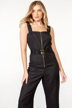 LINEN BUCKLE JUMPSUIT in colour CAVIAR