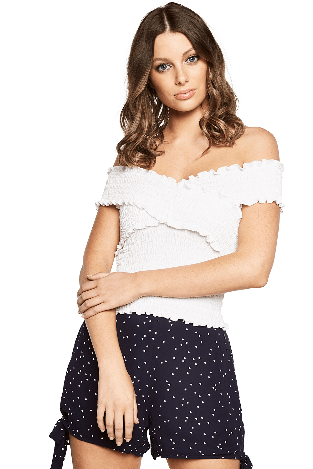 ARI OFF SHOULDER TOP in colour BRIGHT WHITE