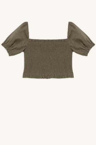 JOANIE PUFF SLEEVE TOP in colour IVY GREEN