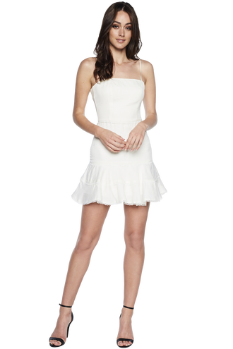 PRIANO TRIM DRESS in colour CLOUD DANCER