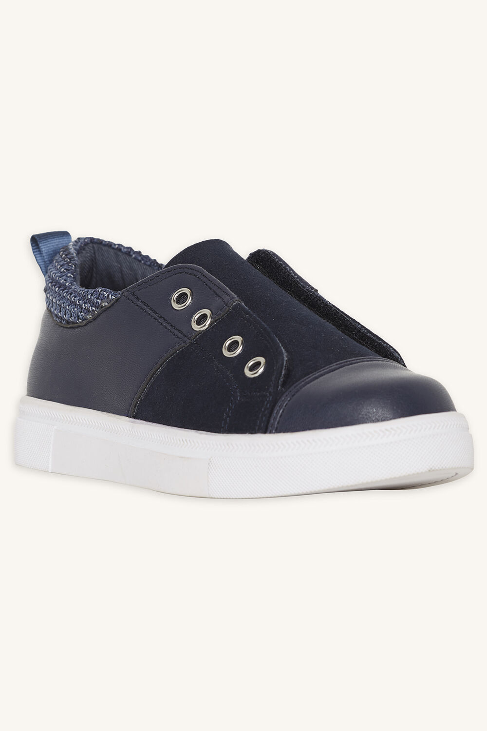 CONTRAST VELCRO SNEAKER in colour BLACK IRIS