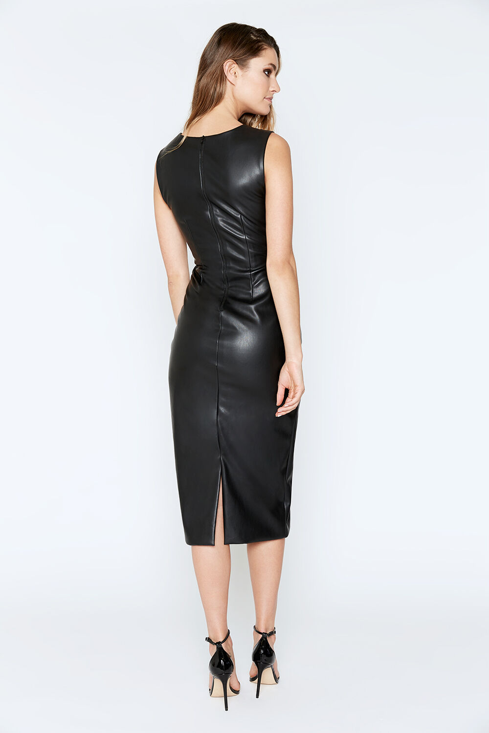 JOLIE VEGAN LEATHER MIDI DRESS in colour CAVIAR