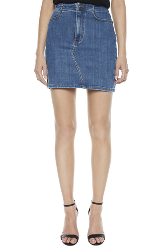 LACE UP DENIM SKIRT in colour SODALITE BLUE