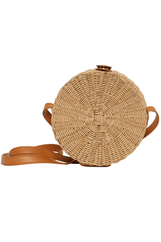 ROUND STRAW HIP BAG in colour BEIGE