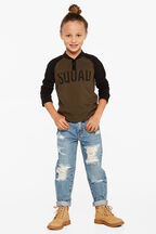 SQUAD LONG SLEEVE TOP in colour COVERT GREEN