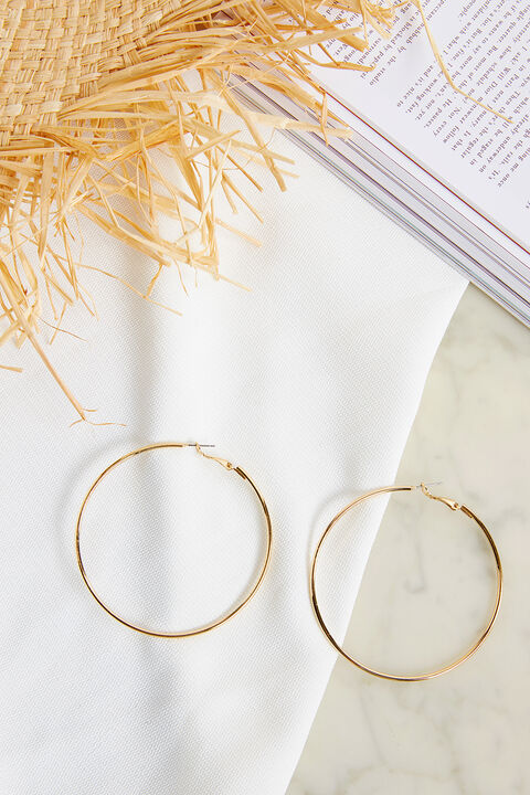 THIN LARGE HOOP EARRINGS in colour GOLD EARTH