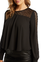 LACE YOKE BLOUSE in colour CAVIAR