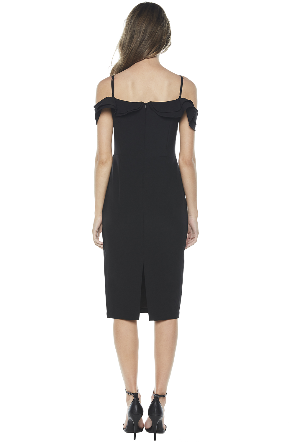 RAENE FRILL DRESS in colour CAVIAR