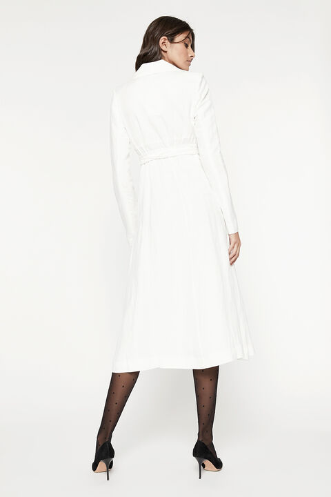 LINEN BLEND SHIRT DRESS in colour CLOUD DANCER