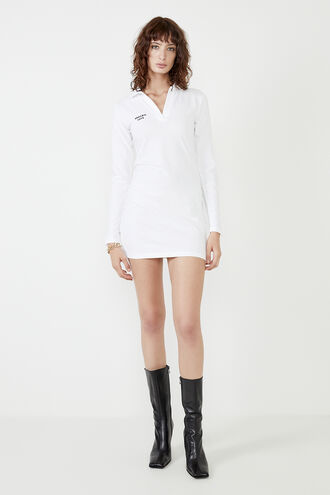 MARNIE COLLARED MINI DRESS in colour BRIGHT WHITE
