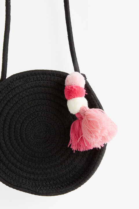 BLACK ROUND TASSEL BAG in colour CAVIAR