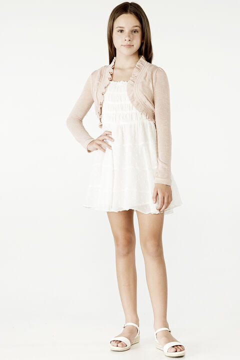 TWEEN GIRL INEZ BOLERO CARDI in colour PEACH PARFAIT