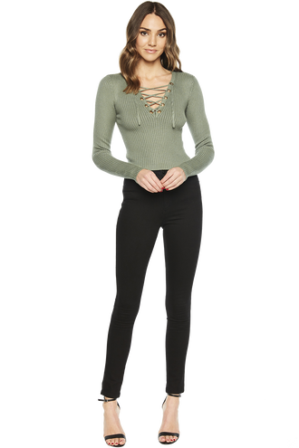 KYM CROP LACEUP KNIT in colour SEA SPRAY