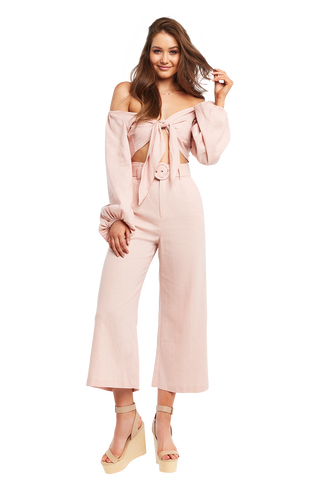 OFF SHOULDER TIE TOP in colour MISTY ROSE