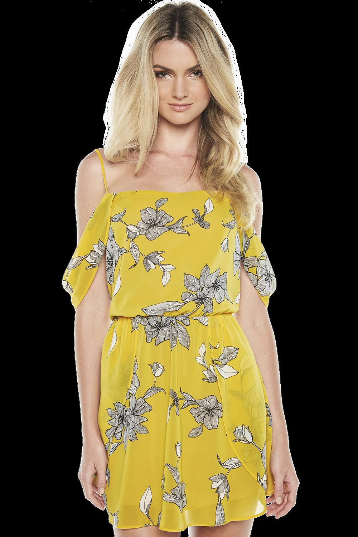 VENICE PRINT DRESS in colour DANDELION