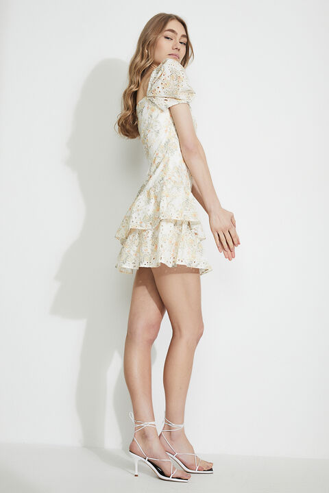 BRODERIE CORSET DRESS in colour VANILLA ICE