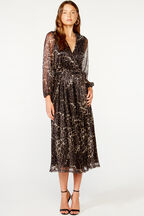LEOPARD PLEAT DRESS   in colour DEMITASSE