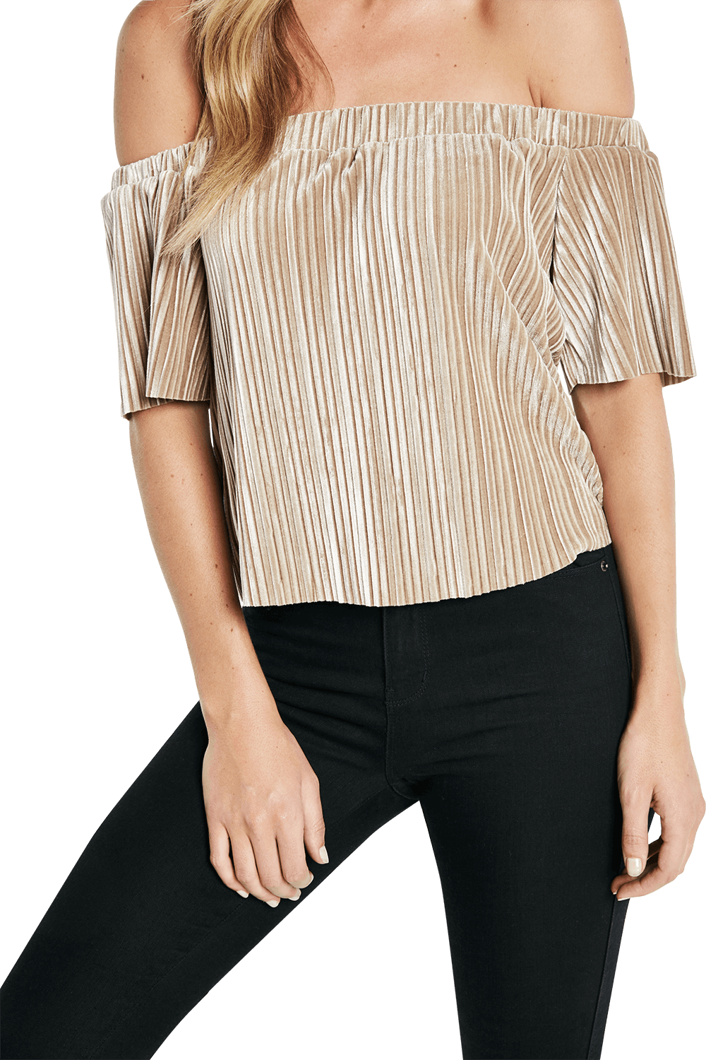 VELVET PLEAT TOP in colour WARM SAND