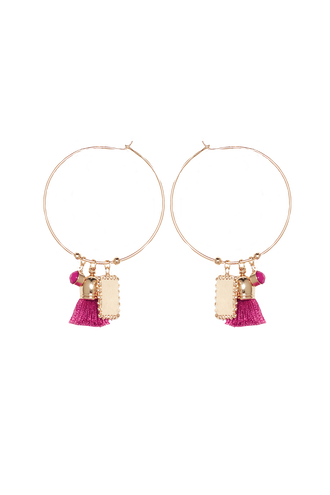 TASSEL HOOPS in colour GOLD EARTH