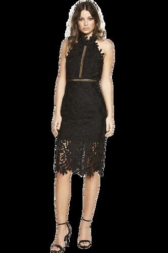 KARA HALTER DRESS in colour CAVIAR