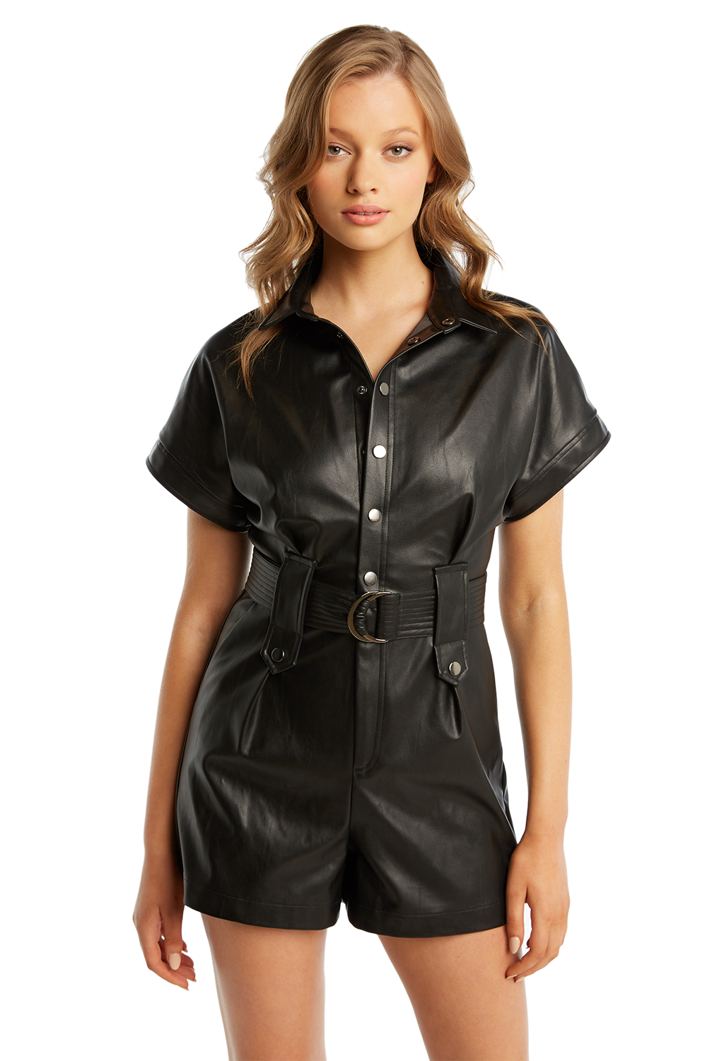 PU BELTED PLAYSUIT in colour CAVIAR