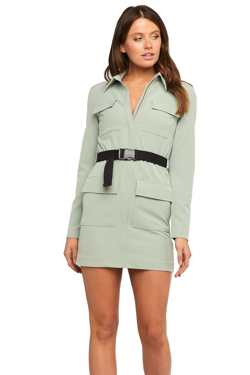 RONNIE CARGO DRESS in colour DEEP LICHEN GREEN