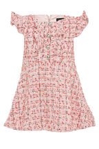 BABY GIRL LIZZIE BOUCLE DRESS  in colour MAHOGANY ROSE
