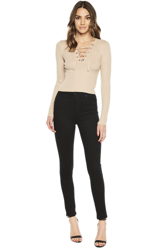 KYM CROP LACEUP KNIT in colour MOONLIGHT