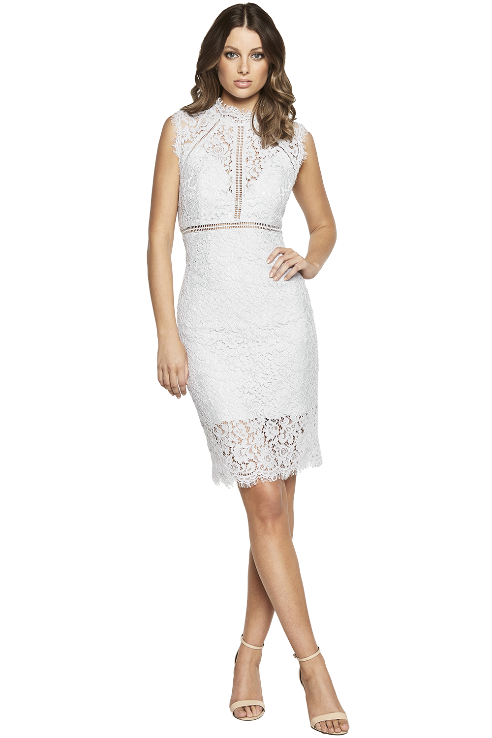 LACE PANEL DRESS in colour ARCTIC ICE