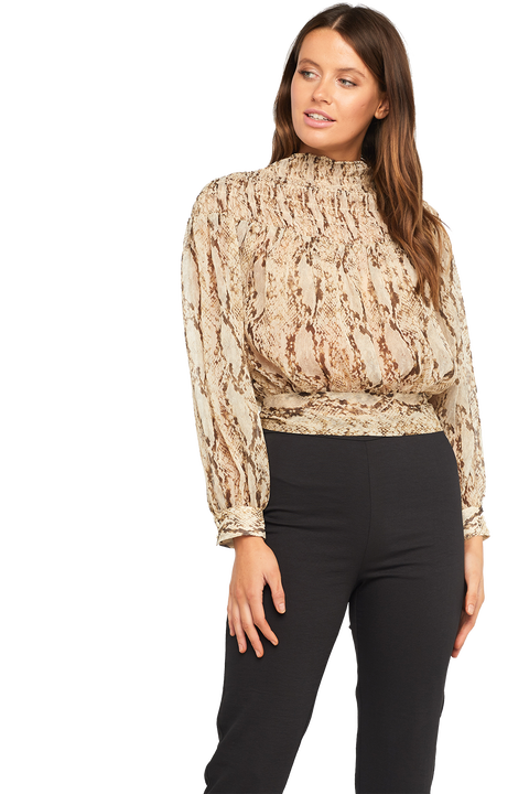 EDITA SNAKE BLOUSE in colour CAVIAR