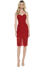PIERRE LACE DRESS in colour CHINESE RED