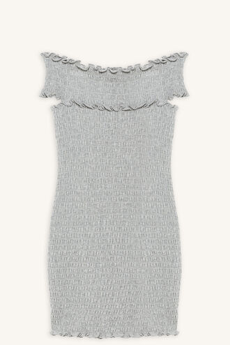 STACE SHIRRED DRESS in colour MOONBEAM