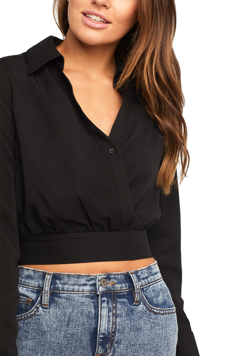 CROSS FRONT BLOUSE in colour CAVIAR