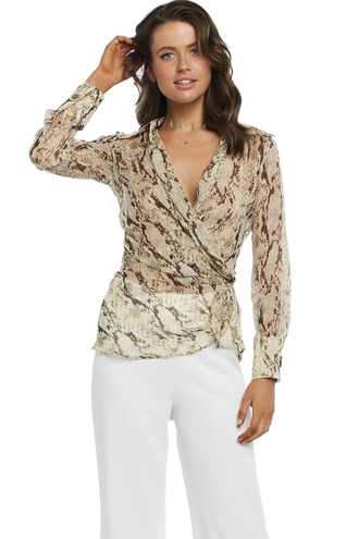 SNAKE PRINT BLOUSE in colour CAVIAR