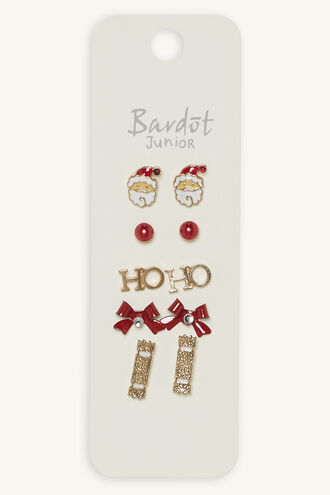 FESTIVE SANTA EARRING STUD 5PK in colour GOLD EARTH