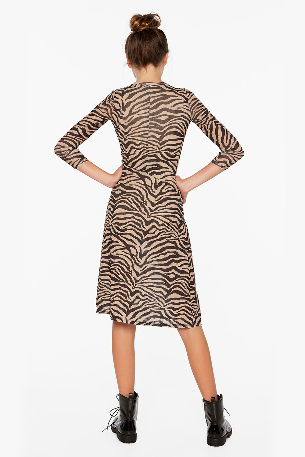 ZEBRA MESH DRESS in colour TAPIOCA