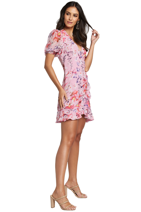 LORITA FLORAL DRESS in colour PRISM PINK