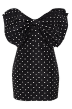 SPOT BOW DRESS in colour CAVIAR