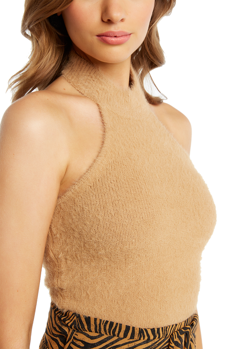 FLUFFY HALTER KNIT in colour ALMOND