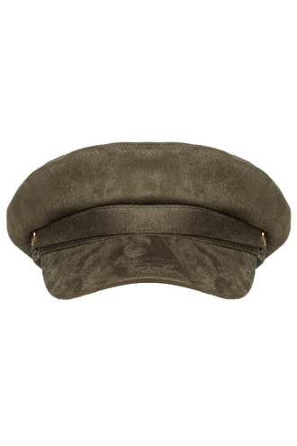 SUEDED CAPTAINS CAP in colour GREEN ASH