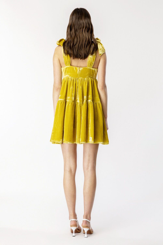 VELOUR TIERED MINI DRESS in colour PALE MARIGOLD