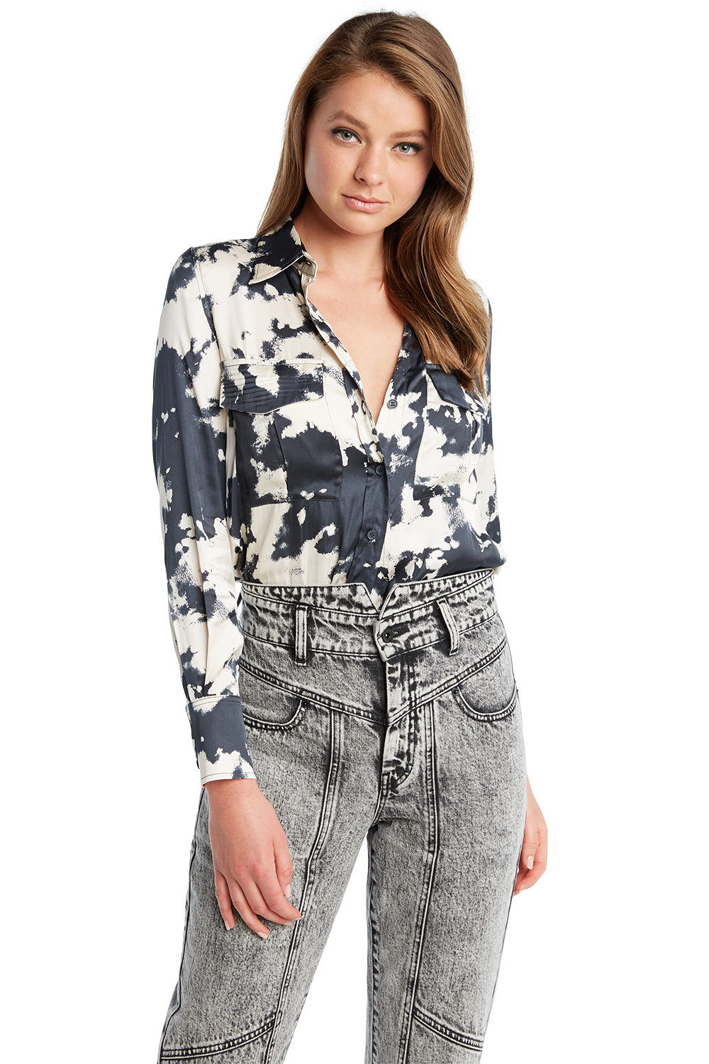 TIE DYE PRINT TOP in colour MOOD INDIGO