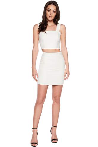 LEAH TEXTURED SKIRT in colour CLOUD DANCER