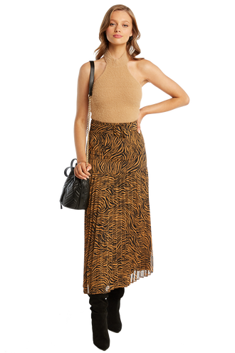 PRINTED PLEAT SKIRT in colour TAPIOCA