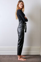 DEBBIE VEGAN LEATHER  PANT in colour CAVIAR